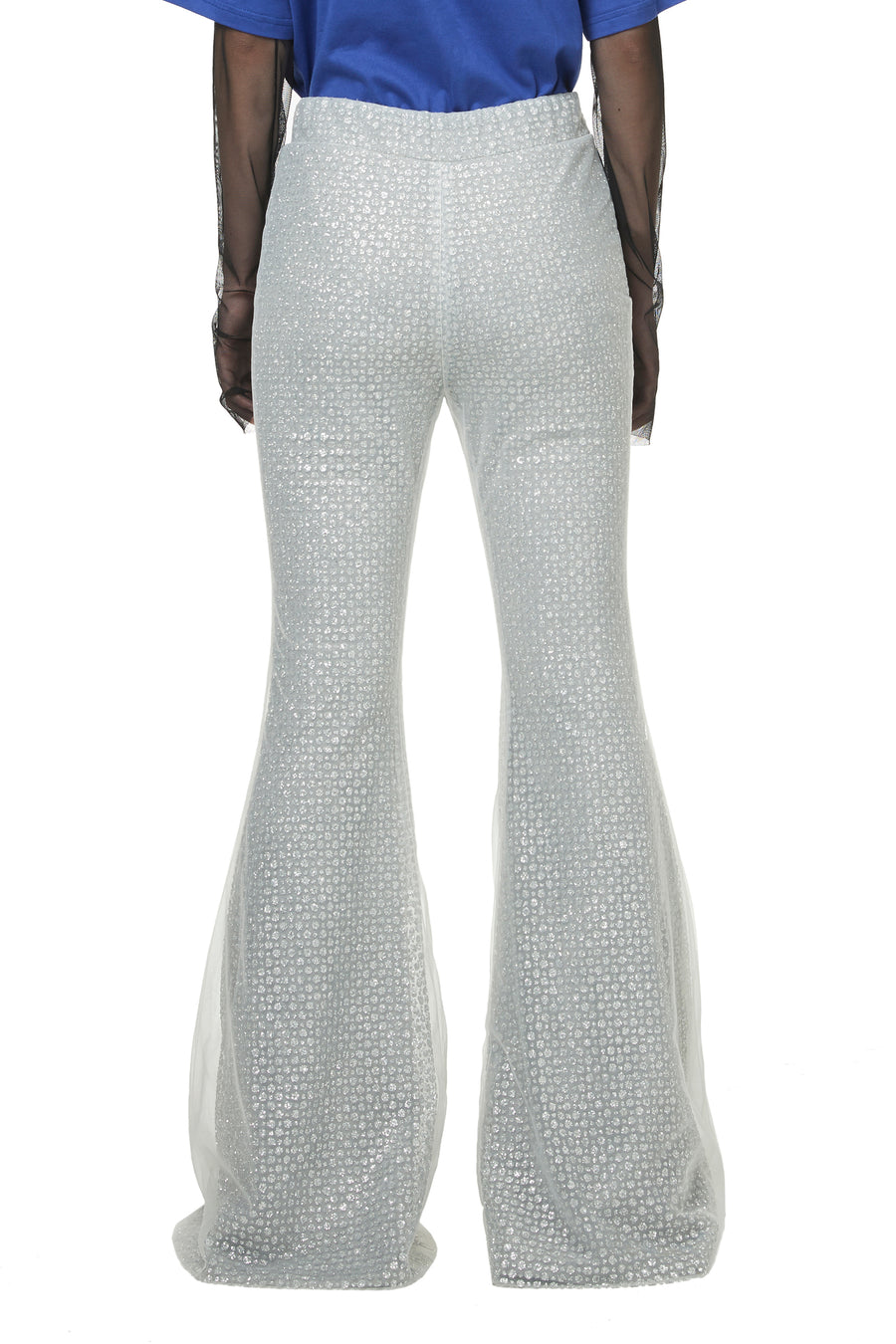 Grey Sparkling Flare Pants