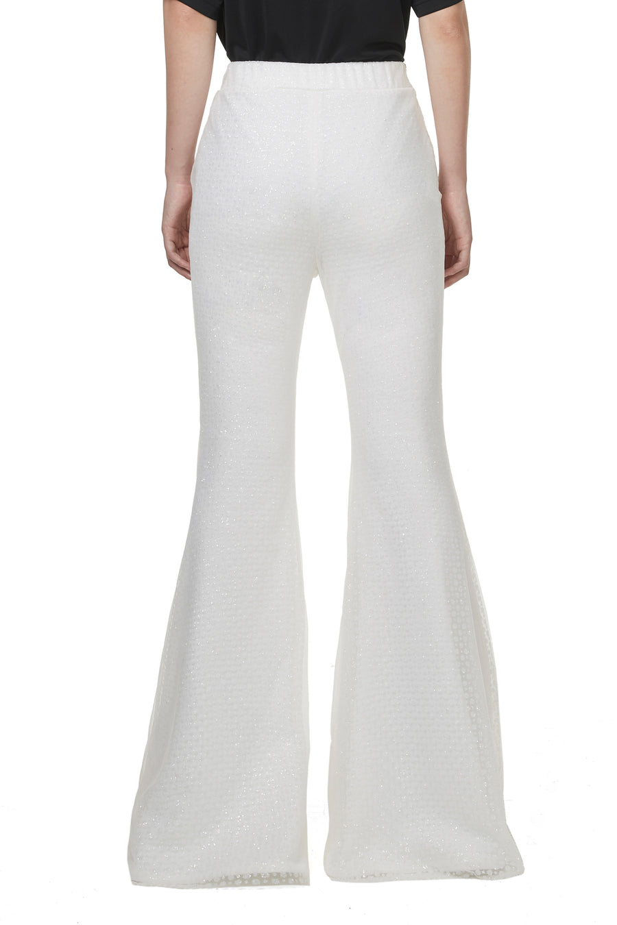 White Sparkling Flare Pants