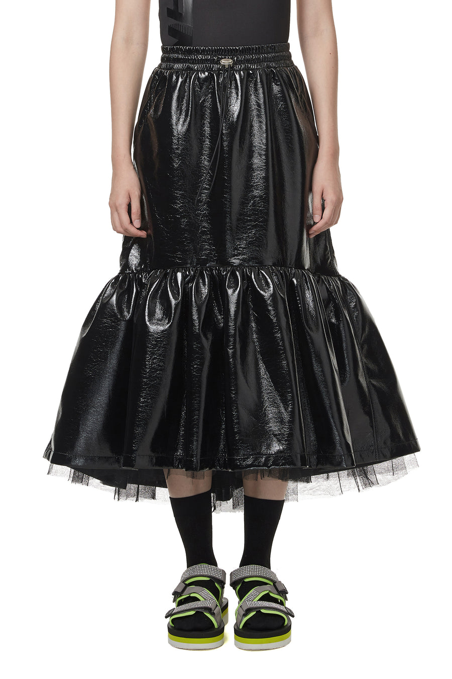 Black Faux Patent Leather Tulle Skirt