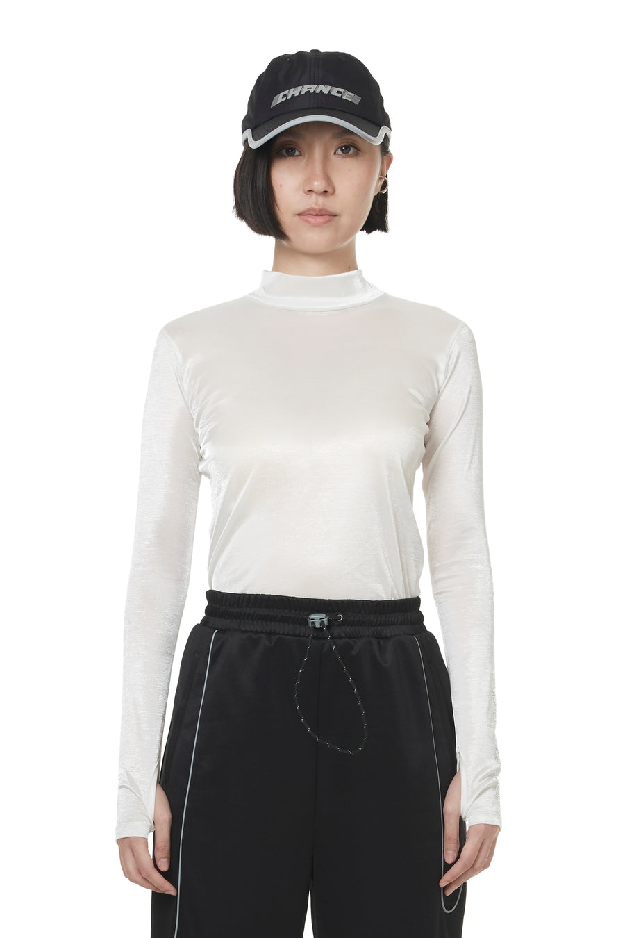 White Shimmer Turtleneck Top