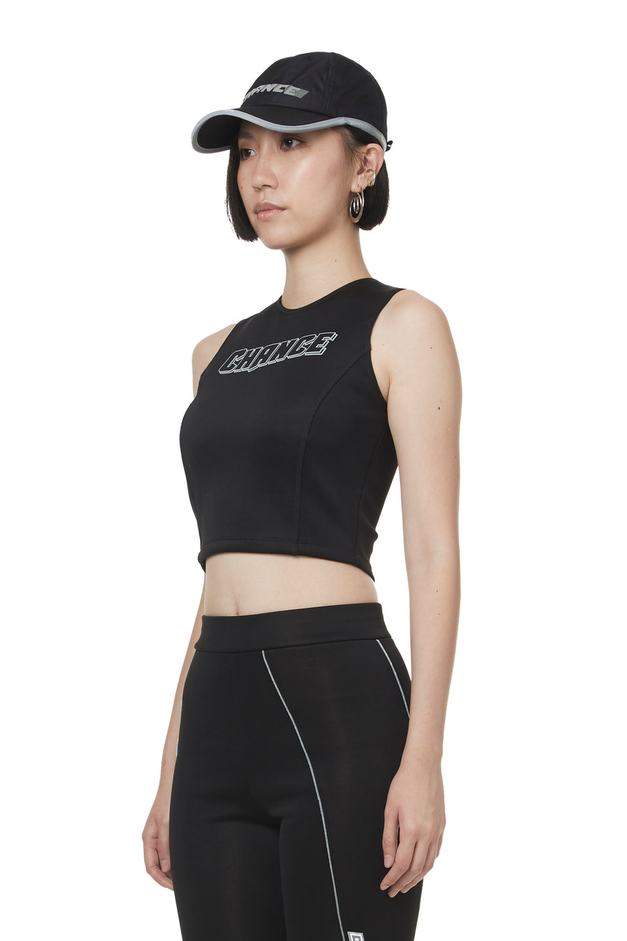 Black Reflective Print Cropped Tank