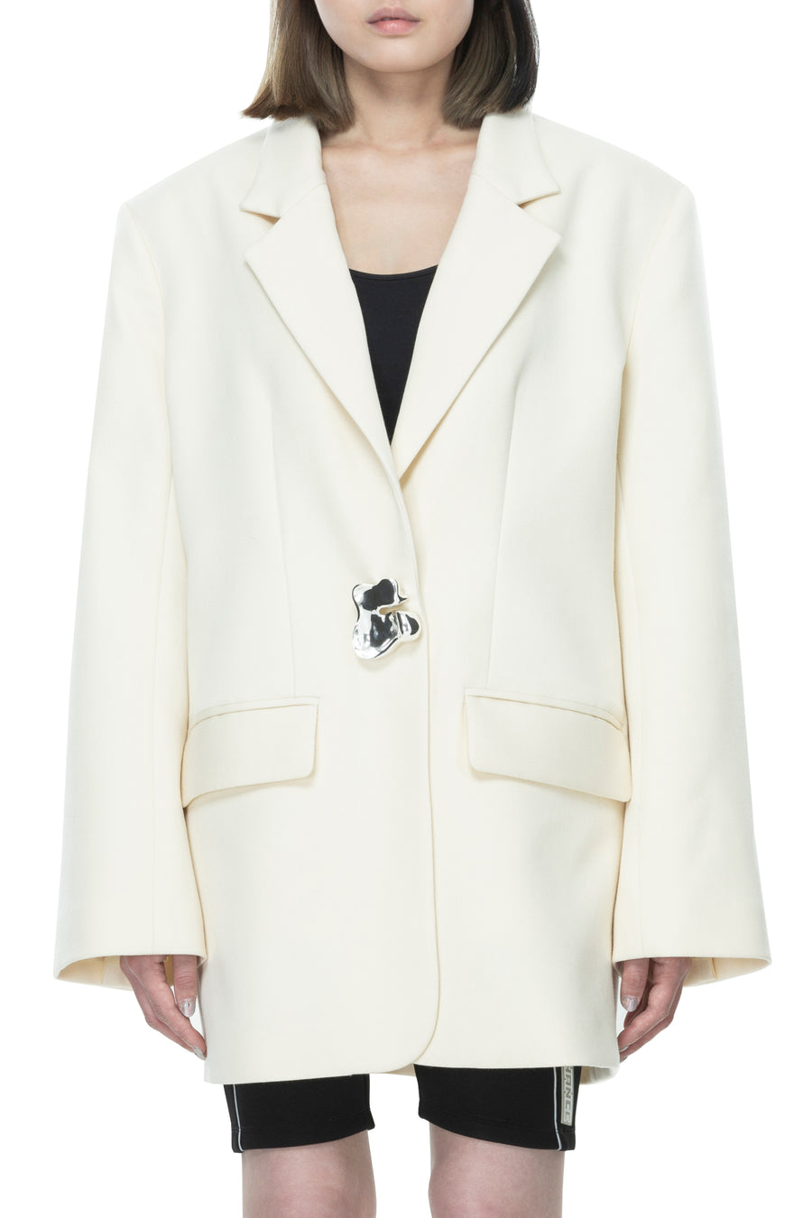 White C Wool Oversized Blazer
