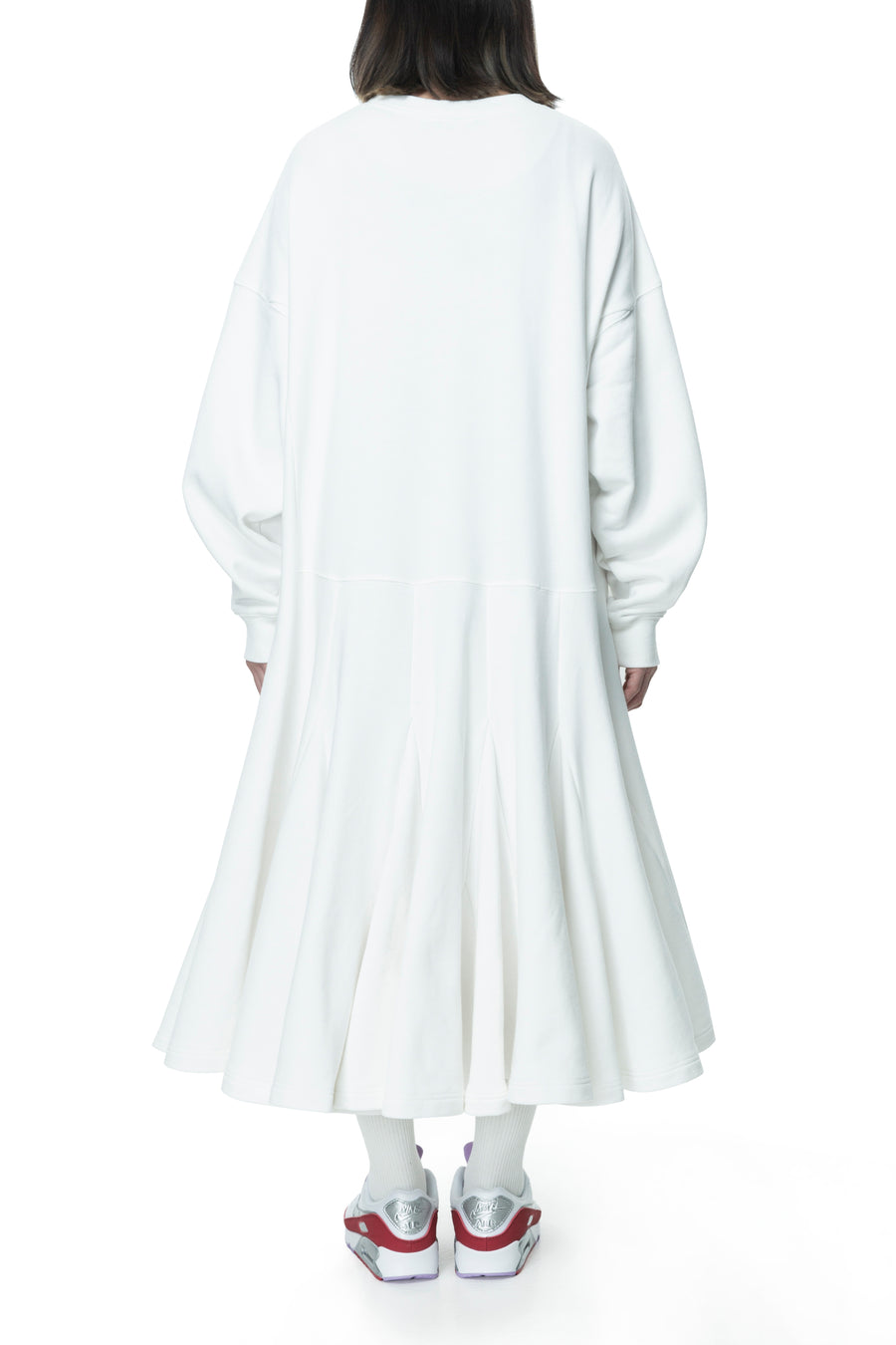 White Heart Patch Flared Sweatdress