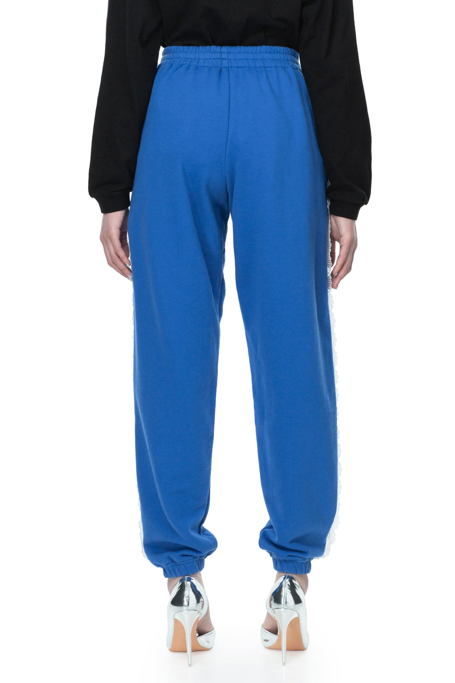 Blue Heart Patch Lace Trim Sweatpants