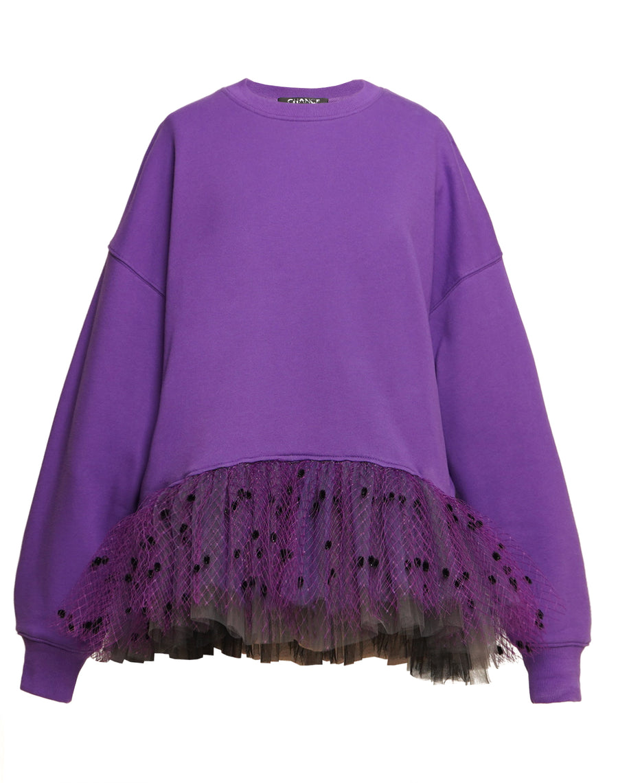 Purple Gradient Tulle Trim Sweatshirt