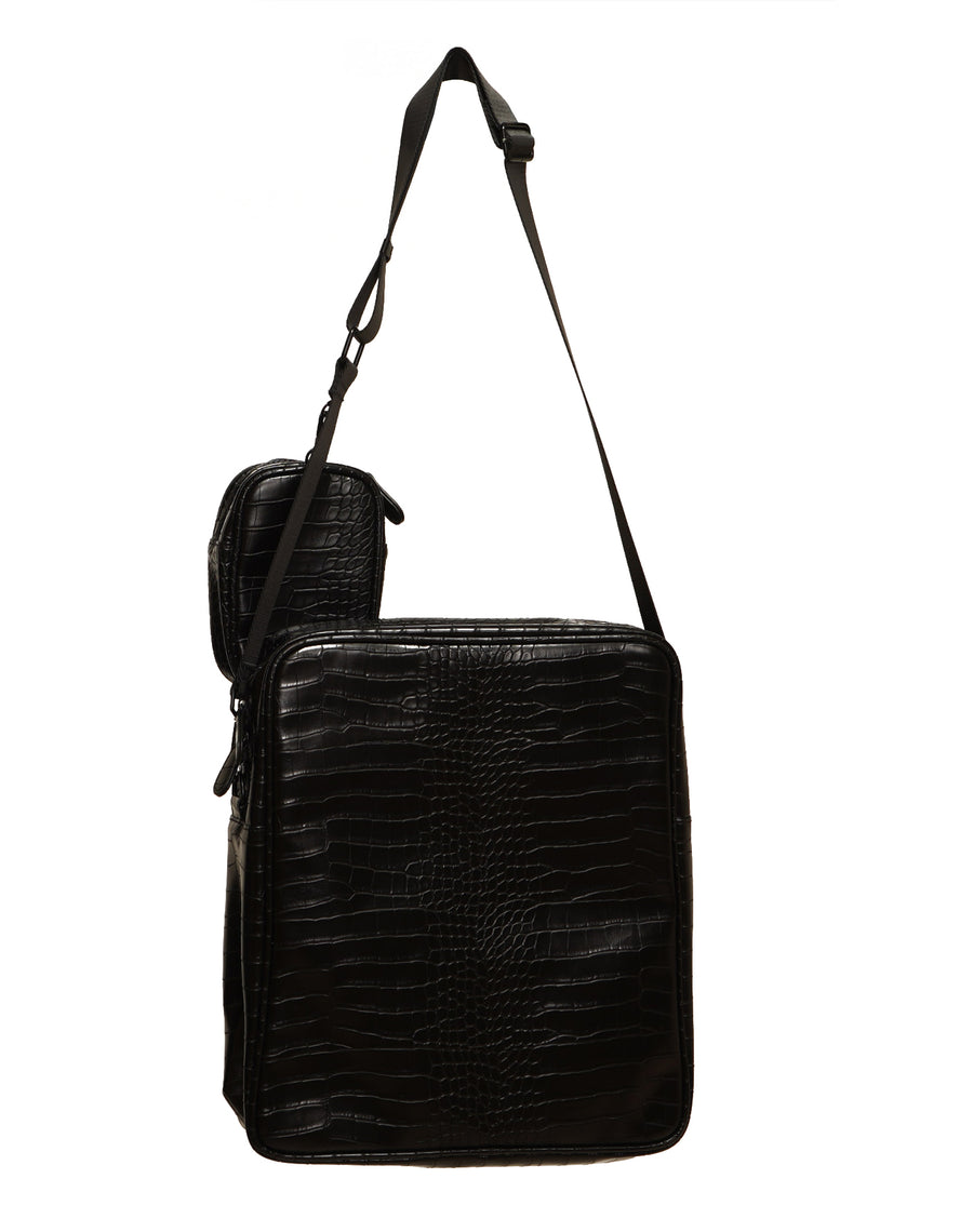Black Croc Shoulder Bag