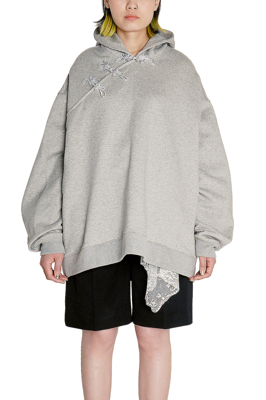 Heather Grey Oversized Cheongsam Hoodie