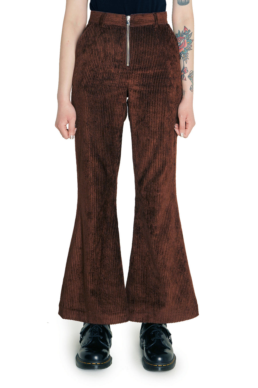 Brown Corduroy Flare Trousers