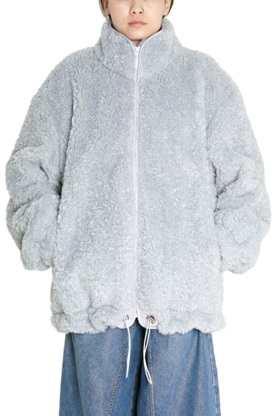 Ash Blue Oversized Faux-Shearling Zip Up Jacket