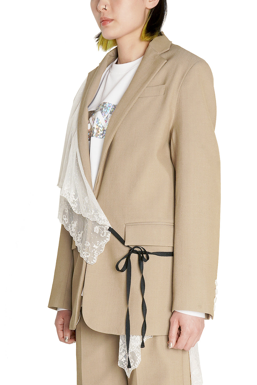 Khaki detachable Scarf Blazer