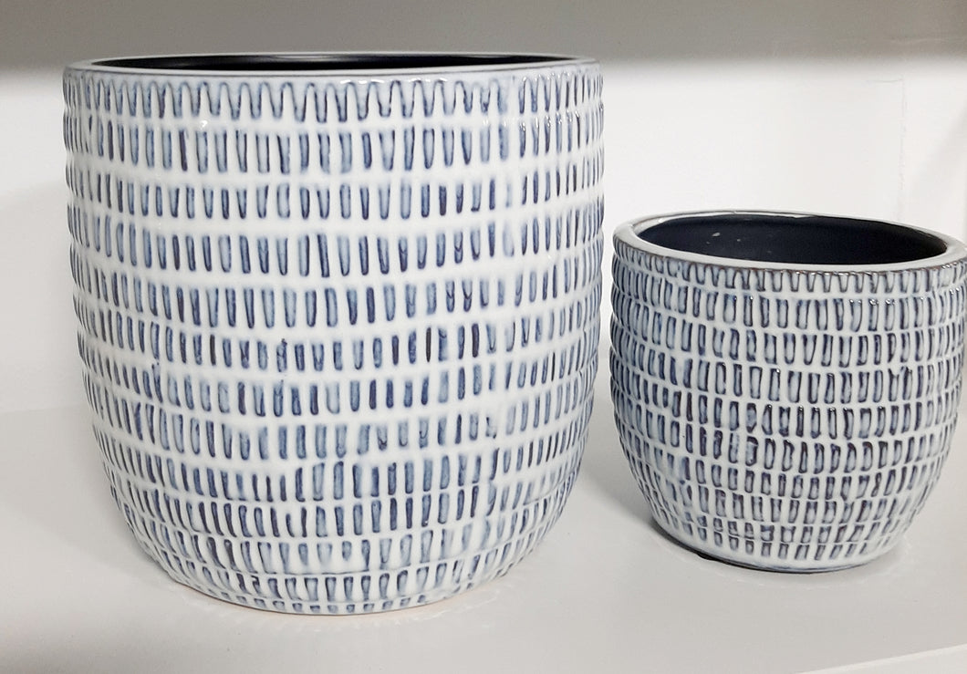 Textured blue on white pot