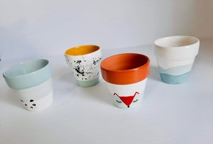 Painted terracotta planters