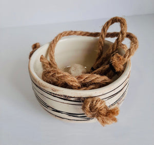 Ceramic Hanging Planter -Beige Striped