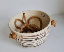 Load image into Gallery viewer, Ceramic Hanging Planter -Beige Striped
