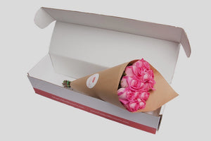 Hot Pink Long Stem Roses, Boxed Arrangement