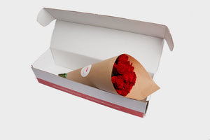 Red Long Stem Roses Bouquet, Boxed Arrangement