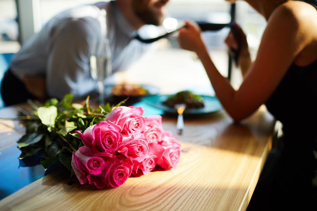 Romantic Couple with Pink Roses Bouquet Miami