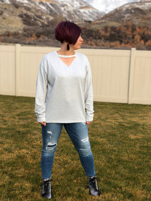 Choker V-Neck Sweatshirt
