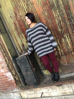 Silver & Black Striped Sweater