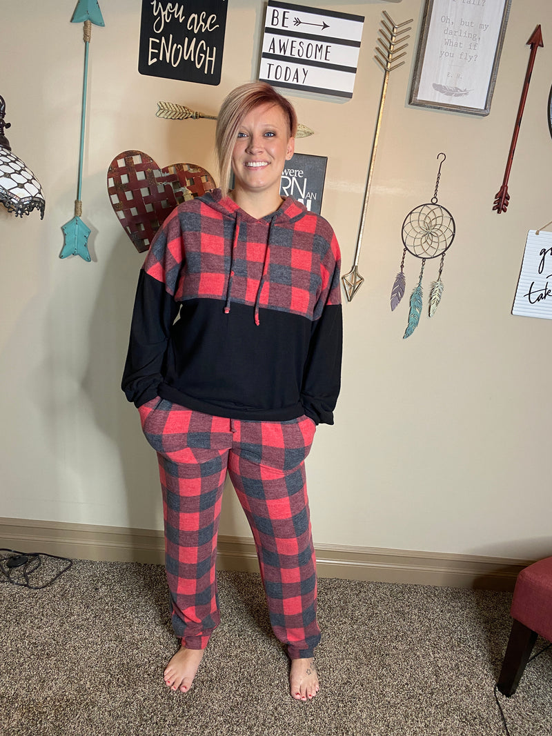 Buffalo Plaid Sweatsuit top