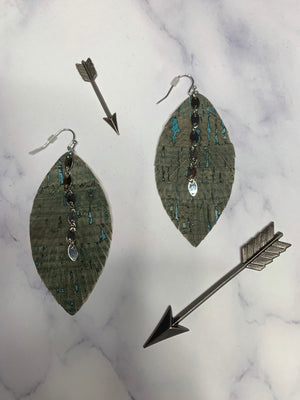 Teal & Gray Leather Earrings