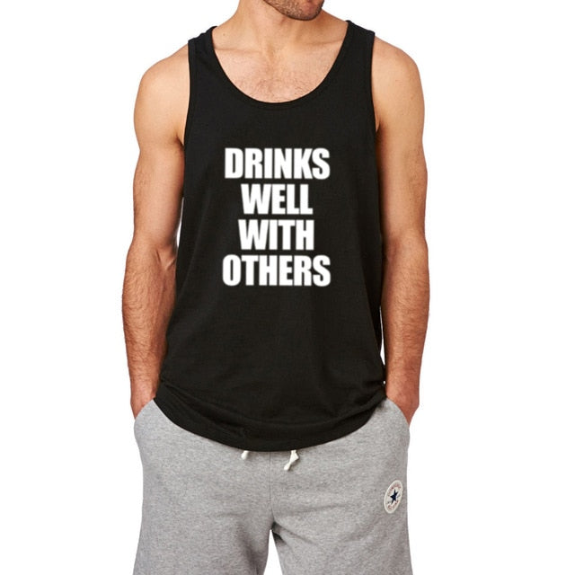 62b8a8fb62d620 Mens Drink Well with Others Slouchy Fitness Workout Casual Tank Tops ...
