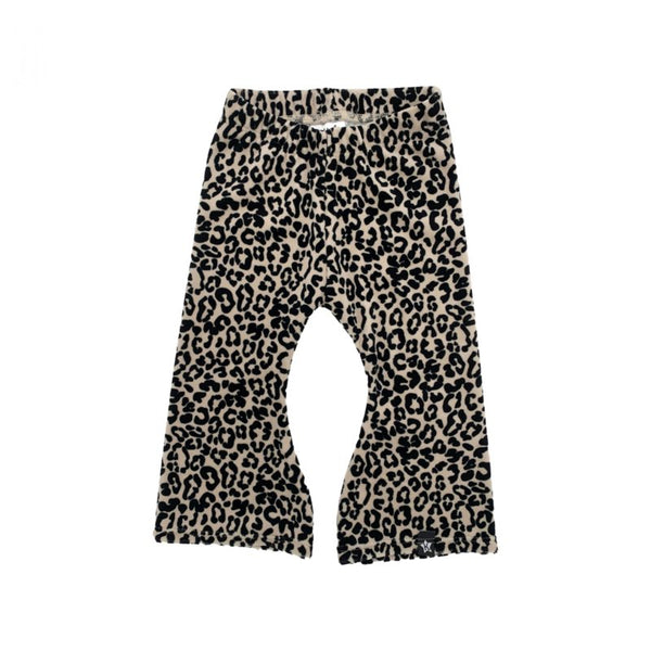KIDS FLARED - VELOURS LEOPARD ZAND