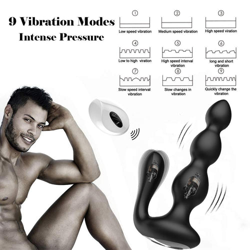 Male Prostate Massager with Testes Stimulation, 9 Speed Vibrating Anal Butt Plug