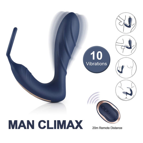 Vibrating Prostate Massager with Cock Ring 10 Patterns Anal Plug