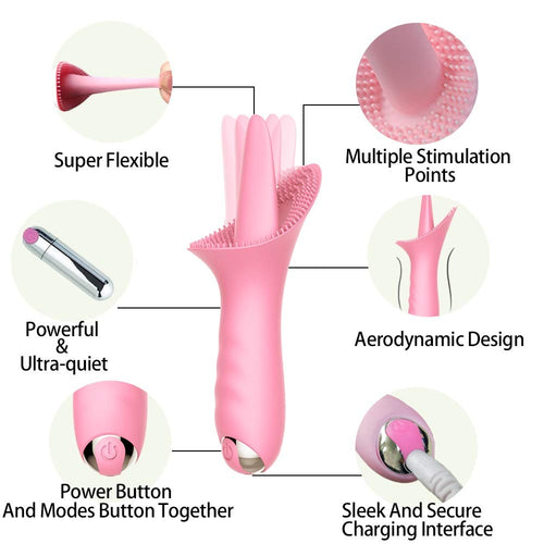 Clitoral Tongue Vibrator Stimulation for Female Nipple Oral Sex