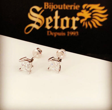Princess cut diamond earrings DE014 - Bijouterie Setor
