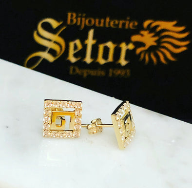 Greek key stud earrings E070 - Bijouterie Setor