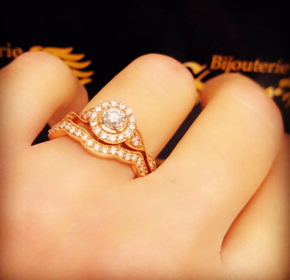 Aya rose gold diamond rings DWR-023 - Bijouterie Setor