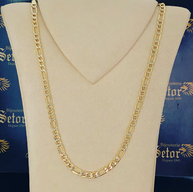 6MM diamond cut figaro chain MC098 - Bijouterie Setor