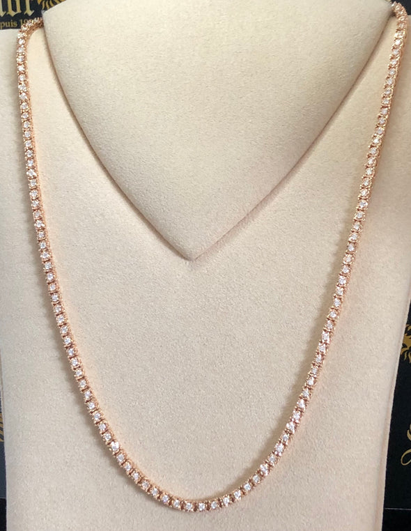 Rose gold diamond tennis necklace DC023 - Bijouterie Setor