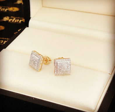 Square Diamond earrings DE-03 - Bijouterie Setor