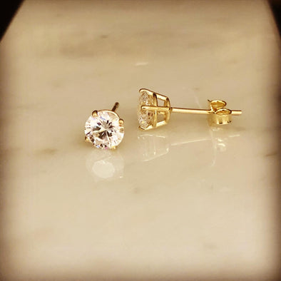 Gold stud earrings 5mm E016 - Bijouterie Setor