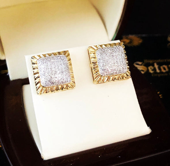 Cushion diamond studs DE9 - Bijouterie Setor