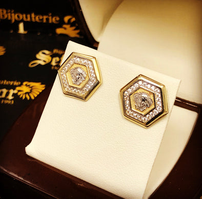 Hexagon gold earrings E-35 - Bijouterie Setor
