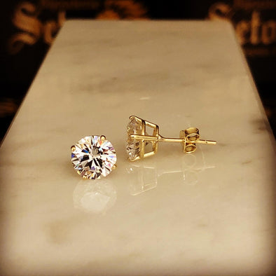 Gold stud earrings 7mm - Bijouterie Setor