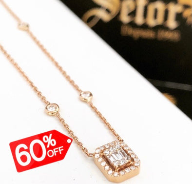 Melody Rose gold diamond necklace DN022 - Bijouterie Setor