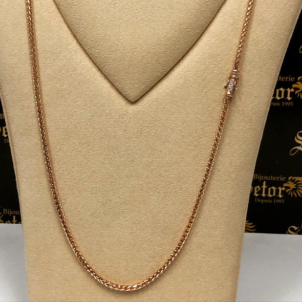 4mm solid Rose gold chain with diamond closure - Bijouterie Setor