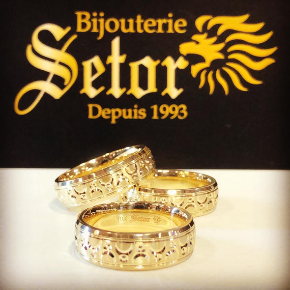 Lunar gold wedding band WB49 - Bijouterie Setor