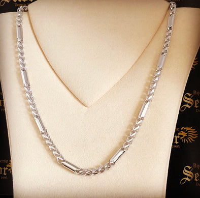 White gold bullet chain MC099 - Bijouterie Setor