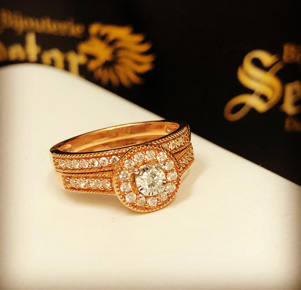 Roma rose gold diamond rings DWR-024 - Bijouterie Setor