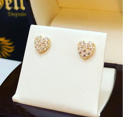 Heart stud earrings E068 - Bijouterie Setor