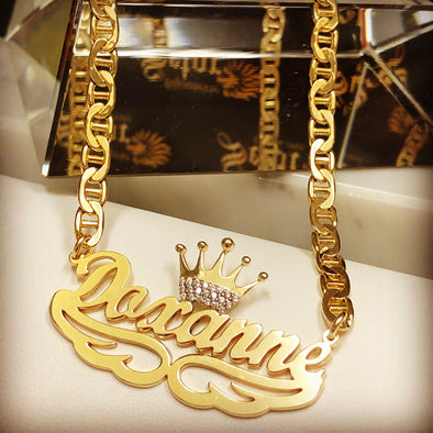 Name necklace with crown WC-125 - Bijouterie Setor