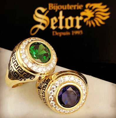 Charlie sapphire & emerald men rings MR043 - Bijouterie Setor