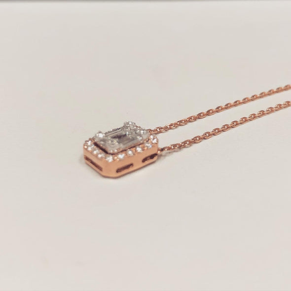 Poppy rose gold diamond necklace DC10 - Bijouterie Setor