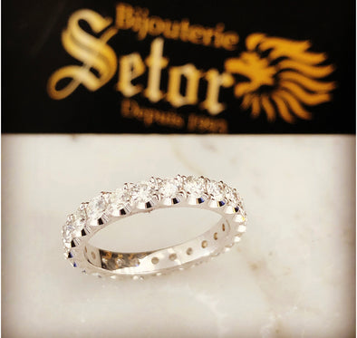 14k white gold eternity ring DER029 - Bijouterie Setor